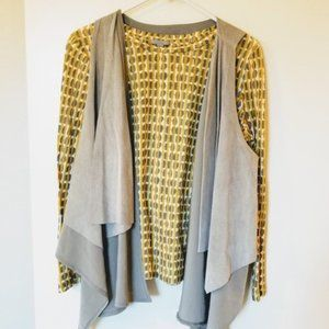 ASOS gray leather drape vest and yellow top